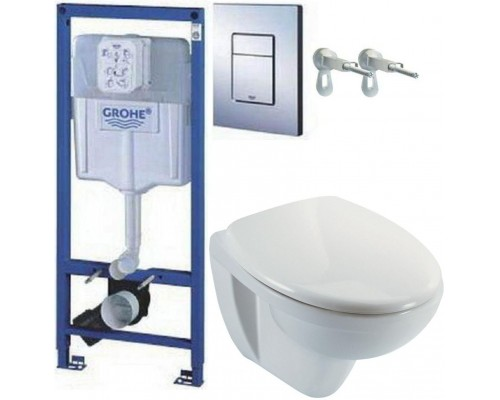 Комплект 4 в 1 (унитаз Jacob Delafon Patio + инсталляция Grohe) EDV102-00, E70021-00, 38772001