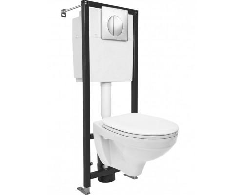 Комплект DELFI Унитаз+Инсталляция+Кнопка хром