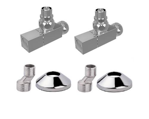 Комплект: вентиль угл 3/4х1/2 г/ш квадрат (2 шт), эксцентрик (2 шт), отражатель (2 шт) Terminus