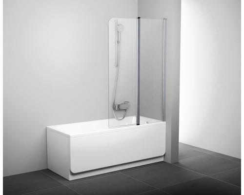 Шторка для ванны  RAVAK Chrome CVS2-100 L  белый+транспарент