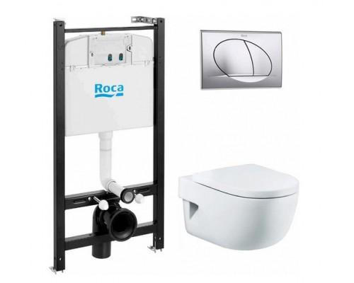 Комплект 4 в 1 Roca (Подвесной унитаз MERIDIAN+Инсталляция+Сидение с микролифтом) 893104110