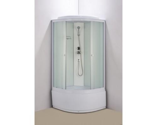 Душевая кабина Водный Мир (100*100*215) высокий поддон, задние стекла белые, передние стекла матовые, цвет профилей белый ВМ-821 (100)