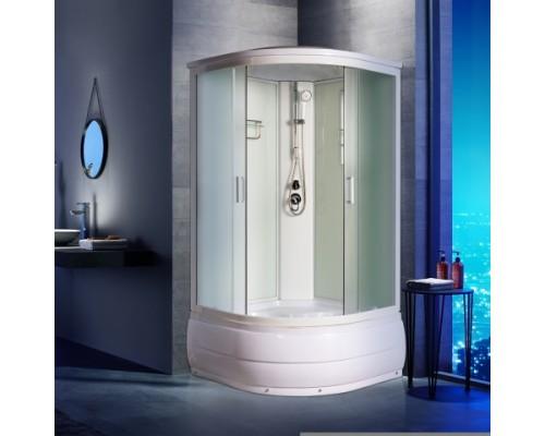 Душевая кабина Водный Мир (100*100*215) высокий поддон, задние стекла белые, передние стекла матовые, цвет профилей белый ВМ-8611 (100)
