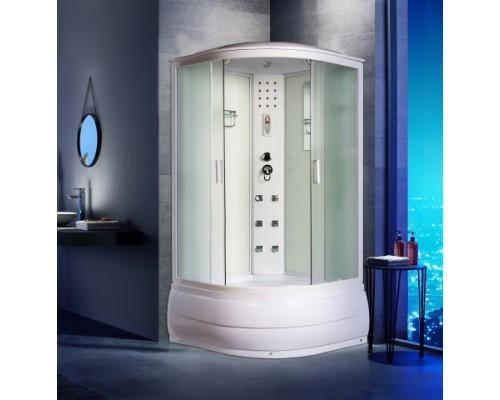Душевая кабина Водный Мир (100*100*215) высокий поддон, задние стекла белые, передние стекла матовые, цвет профилей белый ВМ-8608 (100)