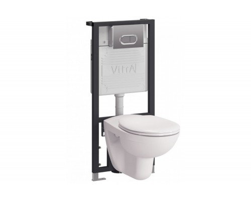 Комплект инсталляция и унитаз подвесной Vitra Normus кнопка матовый хром 9773B003-7203