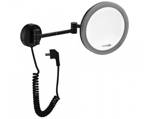 Косметическое зеркало WasserKRAFT K-1004BLACK с 3-х кратным увеличением и подсветкой