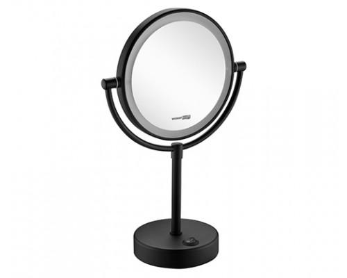 Косметическое зеркало WasserKRAFT K-1005BLACK с 3-х кратным увеличением и подсветкой