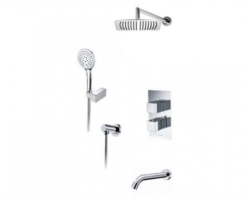 Встраиваемый комплект для ванны с верхней душевой насадкой, лейкой и изливом WasserKRAFT A171519 Thermo