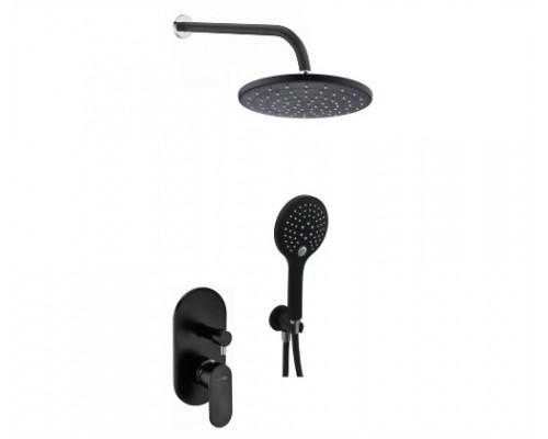Встраиваемый комплект для душа с верхней душевой насадкой и лейкой WasserKRAFT A16777 черный Soft-touch