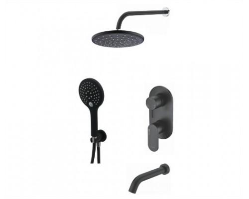Встраиваемый комплект для ванны с верхней душевой насадкой, лейкой и изливом WasserKRAFT A177471 черный Soft-touch