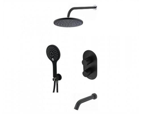Встраиваемый комплект для ванны с верхней душевой насадкой, лейкой и изливом WasserKRAFT A177477 Thermo черный Soft-touch