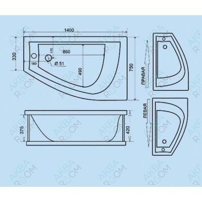 Акриловая ванна Triton Бэлла 140х75х60, правая с каркасом