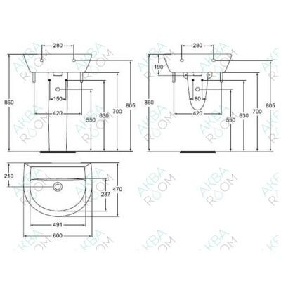 Раковина Vidima Сева Микс W403061 (60 см)