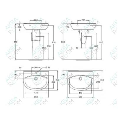 Раковина Vidima СеваФреш W401601 (55 см)