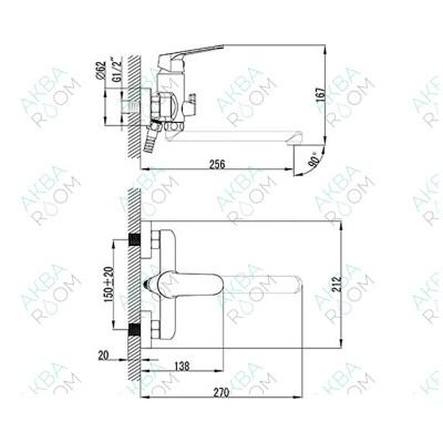 Смеситель SMARTsant Флай SM213512AA для ванны с душем
