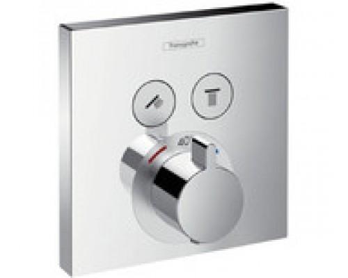 Термостат для душа внешняя часть с запорным клапаном Hansgrohe ShowerSelect  15763000 2 потребителя