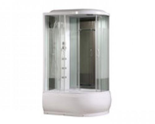 Душевая кабина Comforty 214L белая, стекло страйп (120х85х215)