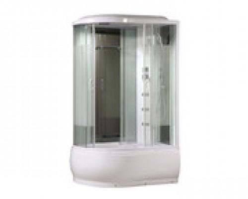 Душевая кабина Comforty 214R белая, стекло страйп (120х85х215)