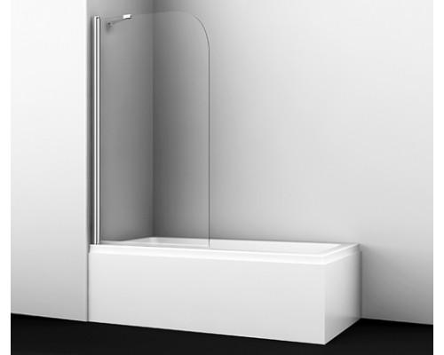 Стеклянная шторка на ванну, распашная, одностворчатая, закругленная Leinel 80 см 35P01-80 WasserKraft