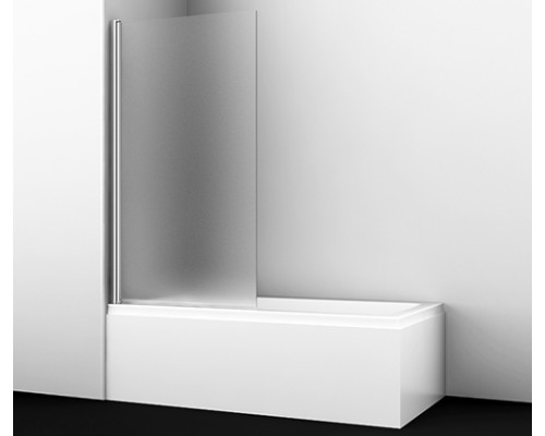 Стеклянная шторка на ванну, одностворчатая, левосторонняя, матовое стекло Berkel 80 см 48P01-80L Matt glass WasserKraft