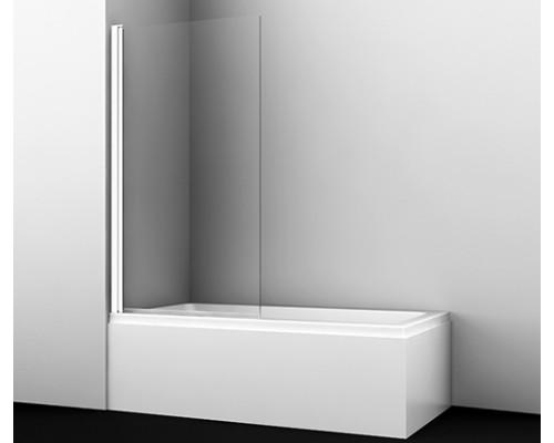Стеклянная шторка на ванну одностворчатая, белый профиль Berkel 80 см 48P01-80 WHITE WasserKraft