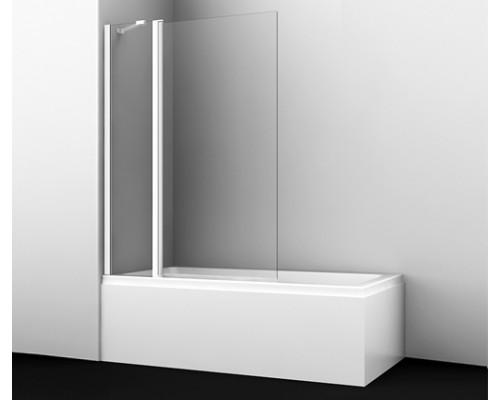 Стеклянная шторка на ванну, двухстворчатая,белый профиль Berkel 110 см 48P02-110 WHITE Fixed WasserKraft