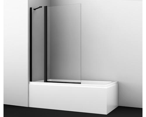 Стеклянная шторка на ванну, двухстворчатая,черный профиль Berkel 110 см 48P02-110 BLACK Fixed WasserKraft