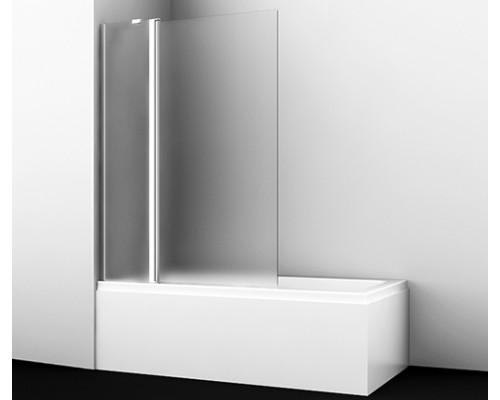 Стеклянная шторка на ванну, двухстворчатая, левосторонняя, матовое стекло Berkel 110 см 48P02-110 L Matt glass Fixed WasserKraft