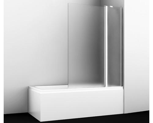 Стеклянная шторка на ванну, двухстворчатая, правосторонняя, матовое стекло Berkel 110 см 48P02-110R Matt glass Fixed WasserKraft