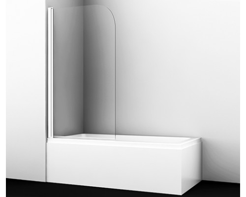 Стеклянная шторка на ванну, распашная, одностворчатая, закругленная, белый профиль Leine 80 см 35P01-80WHITE WasserKraft
