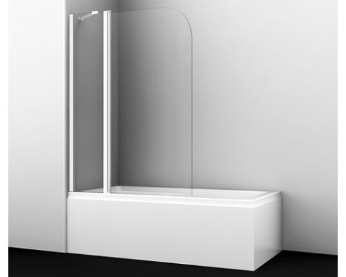 Стеклянная шторка на ванну, распашная, двухстворчатая, закругленная, белый профиль Leine 110 см 35P02-110WHITE Fixed WasserKraft